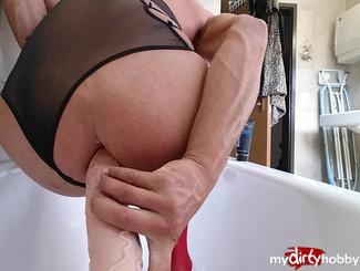 45cm dildo in badewanne reiten